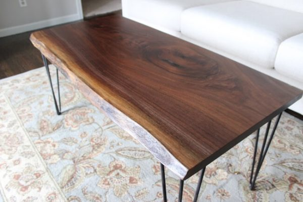 Custom made walnut live edge slab dining table with 4 hairpin legs