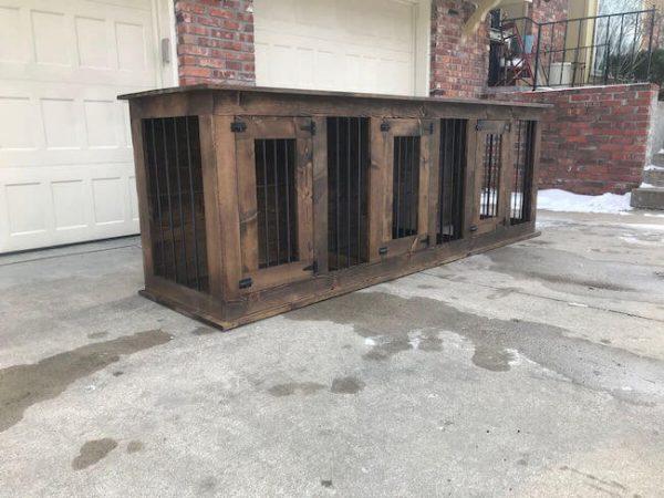 Triple dog kennel, brown stain dark walnut