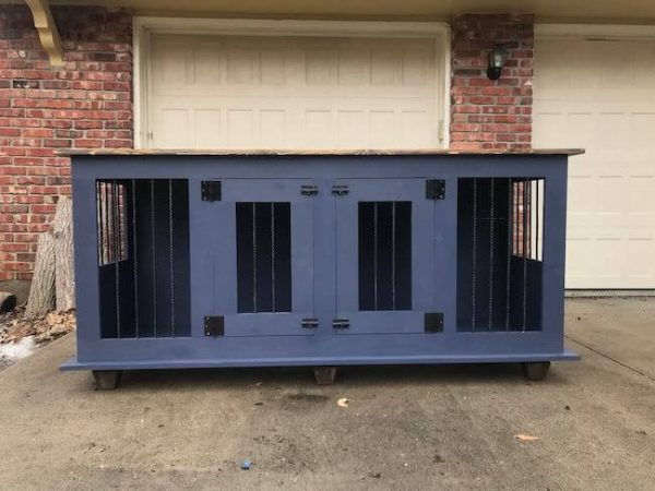 Black dog kennel with two doors, dark walnut stained top